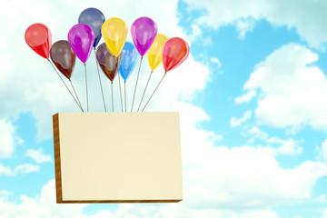Billboard flying on balloons