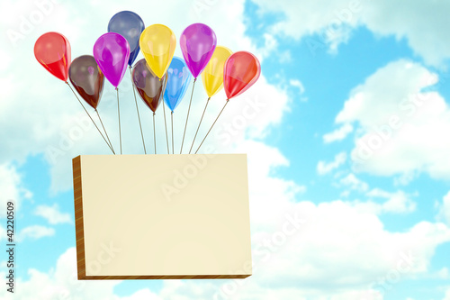 Billboard flying on balloons