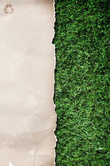 recycled paper on grass