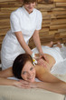 Luxury spa room woman back massage