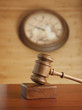 Gavel and clock