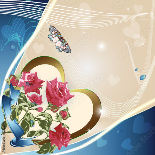 Pink roses on elegant light background