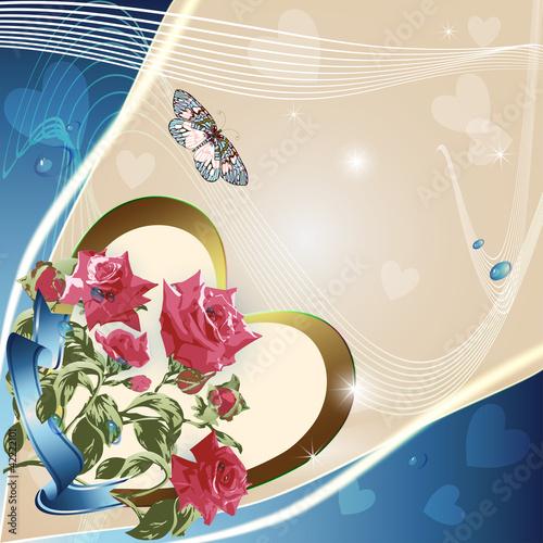 Pink roses on elegant light background