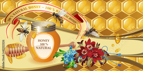 Closed honey jar, wooden dipper, bees and flowers