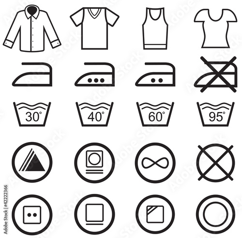 Set of washing symbols