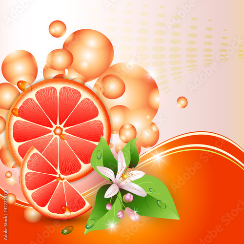 Abstract background with juicy slices of grapefruit