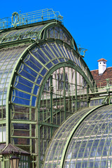 Architectural details of Palmenhaus and Hofburg palace in Vienna