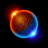 Fototapety Fire and ice ball planet