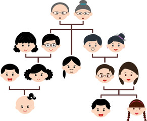 Vector Icons: Family Tree, A diagram on a genealogical tree