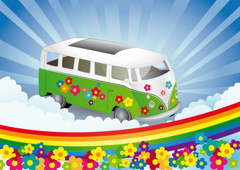 Flower power - retro van
