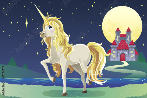 Poster Pony Unicorn in the castle