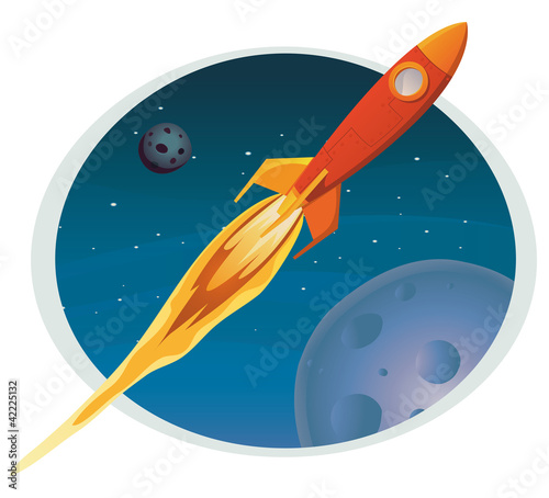 Poster Kosmos Spaceship Flying Through Space Banner