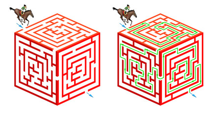 Horseriding cubic maze