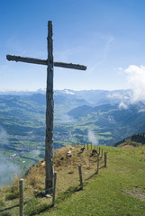 Wooden Cross on top of Mount Rigi, Switzerland