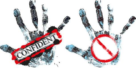 grunge warning hand