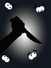 coltello e occhi spaventati