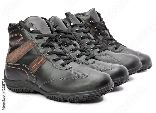 Men's boots on white background