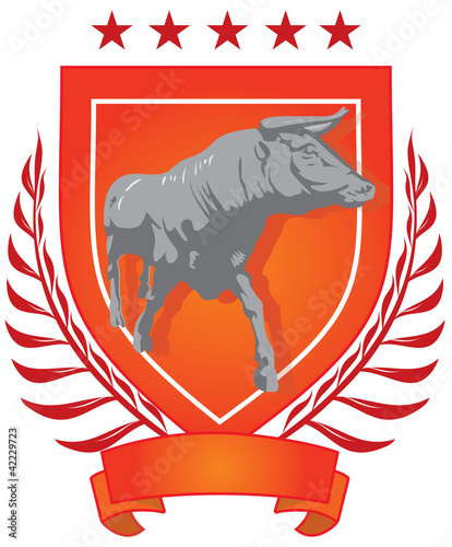 illustration of an abstract  shield with the bull