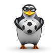 3d Penguin in glasses holds a soccer ball