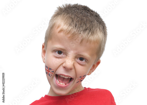 seven year old boy with union jack tattoos