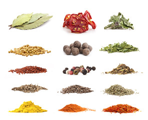 Different spices and herbs isolated on white background