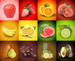 Colorful Fruit Food Square Background