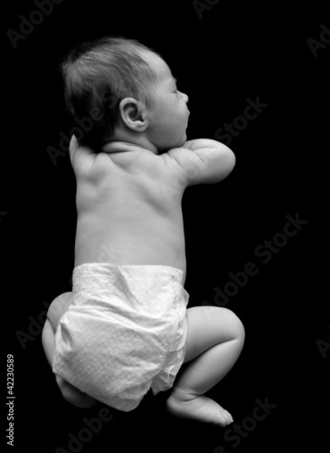 Little Baby Sleeping with Diaper on Black