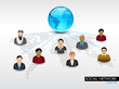 Social networking 3D background with people connect with network