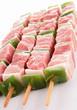raw meat, skewers