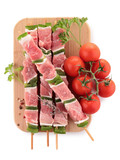 raw meat, skewers