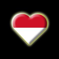 Coeur drapeau Indonésie