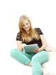 Happy Young Woman with Digital Tablet