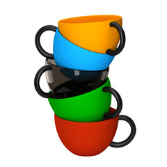 Colorful cups, isolated white background
