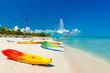 Boats on a tropical beach in Cuba