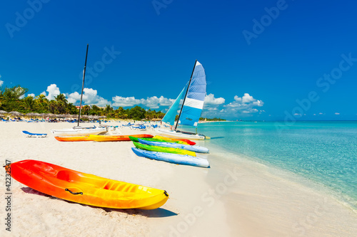 Boats on a tropical beach in Cuba
