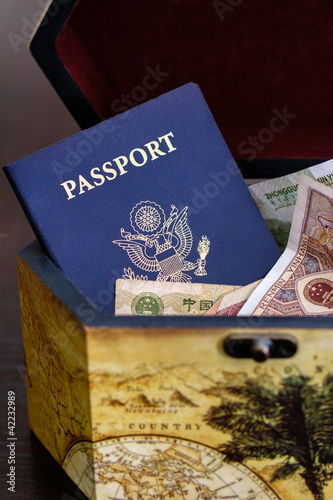 US passport with chinese currency in box