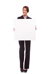 business woman showing a blank board