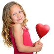Sweet girl holding red heart.