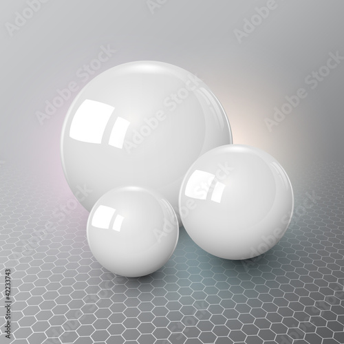Background design, 3d white spheres on grey.
