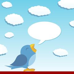 Blue bird spreading the news with talking balloon