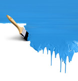 Paintbrush painting dripping blue