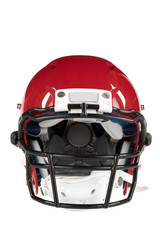 Red Football Helmet Front View