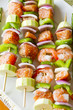 Salmon and Shrimp Skwers Prepped for BBQ
