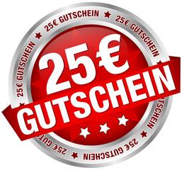"""Button Banner """"25 € Gutschein"""" rot/silber"""