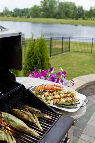 Mediterranean Fish Shish Kebabs and Lobster