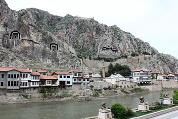 Rock tombs at the city of amasya in turkey