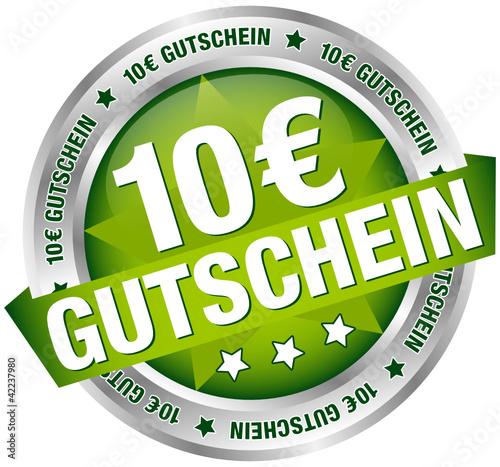 """Button Banner """"10 € Gutschein"""" grün/silber"""