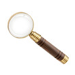 Magnifying glass with a wooden handle