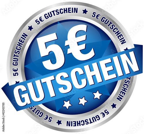 """Button Banner """"5 € Gutschein"""" blau/silber"""