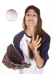 Woman Baseball or Softball Player Catches a Ball